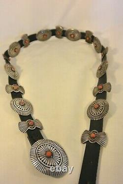 Signed 8ozt Navajo GEM CORAL CONCHO BELT buckle Sterling Silver heavily Stamped