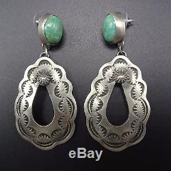Signed NAVAJO Hand Stamped Sterling Silver & TURQUOISE Dangle EARRINGS