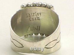 Signed Shirley Quam Zuni Stamped Sterling Silver And Needle Point Turquoise Ring