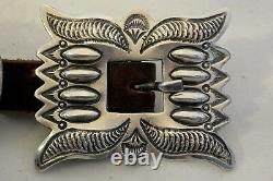 Signed TC 11+ozt Navajo 11 CONCHO BELT buckle Sterling Silver heavily Stamped