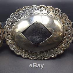 Signed Vintage NAVAJO Hand Stamped Sterling Silver BELT First Phase Revival