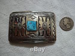 Signed Vintage NAVAJO Hand-Stamped Sterling Silver & TURQUOISE Belt BUCKLE