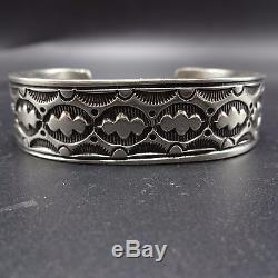 Signed Vintage NAVAJO Heavy Gauge Hand-Stamped Sterling Silver Cuff BRACELET