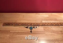 Signed Vintage NAVAJO Sterling Silver & TURQUOISE Cluster Necklace Stamped