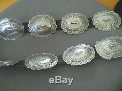 Southwestern Native American Indian Sterling Silver Stamped Repousse Concho Belt