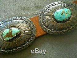 Southwestern Native American Turquoise Stamped Sterling Silver Concho Belt