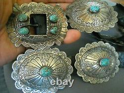 Southwestern Navajo Spiderweb #8 Turquoise Sterling Silver Stamped Concho Belt