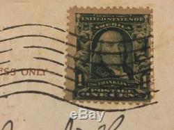 Stamp Vintage Ben Franklin 1 Cent US Postage Flag Cancelled 1908 with Postcard