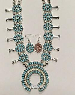 Sterling Silver Navajo Handmade Cluster Reversible Squash Blossom Necklace Set