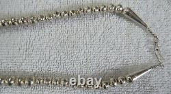 Sterling Silver Navajo Indian Die Stamped Hand Made Bench Beads Beaded Necklace