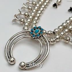Sterling Silver Navajo Natural Turquoise Plain Beads Squash Blossom Necklace Set