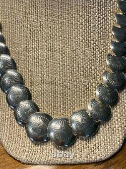 Sterling Silver Stamped Disk Beads Necklace Set
