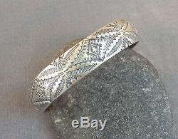 Sterling Silver Stamped Navajo Unisex Cuff Bracelet Stack or Wear Alone