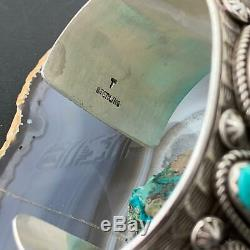 Sterling Silver Turquoise Stamped Cuff Bracelet, Native American Unisex Bracelet