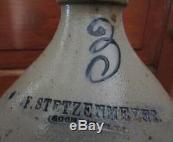 Stoneware Jug Frederick Stetzenmeyer Stamped- Rochester NY worked 1849 1860