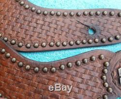 Studded Leather Basket Stamp Spur Straps with Vintage Sterling Silver Conchos