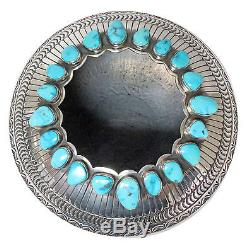Sunshine Reeves, Sterling Silver Bowl, Morenci Turquoise, Stamping, Navajo, 2.5in