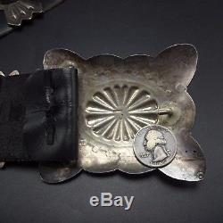Superb Vintage NAVAJO Hand Stamped Sterling Silver & TURQUOISE Concho BELT 526g