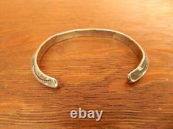 Tahe Navajo Sterling Silver Carinated Ingut Stamped Cuff Bracelet Vintage