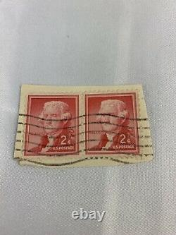Thomas Jefferson 2cent Antique Postage Stamp- Red, Used Set Of 2