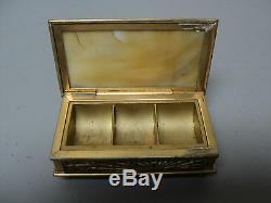 Tiffany Studios Gilt Bronze PINE NEEDLE Caramel Glass Stamp Box #801