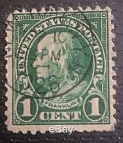 Timbre Benjamin Franklin 1 Cent Rare GREEN Issue 1923-1926