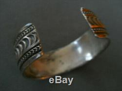 Traditional Native American Navajo Hand Stamped Sterling Silver Cuff Bracelet RB