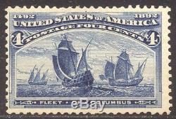 U. S. #233a RARE Mint withCert 1893 4c Columbian, Blue ERROR