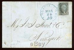 US SCOTT #2 1847 10c USED ON COVER 3 FULL MARGINS BLUE GRID CANCEL
