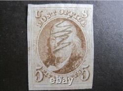 US Stamps Scott#1 5c Franklin used, 4 margins