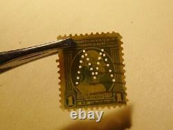 VERY RARE 1 Cent George Washington Green Stamp (Looking Right) M Perfin mark