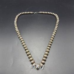VINTAGE 28 Long HAND STAMPED Sterling Silver NAVAJO PEARLS NECKLACE 133.8g