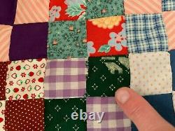 Vintage 1940's 50's 60's Hand Sewn Postage Stamp Quilt Top 81x 95