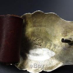 Vintage CALVIN MARTINEZ NAVAJO Hand Stamped Sterling Silver & CORAL Concho BELT