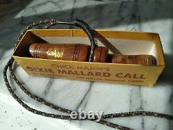 Vintage(Chick Major)Dixie Mallard Arkansas Duck Call withBox with Gold stamp label