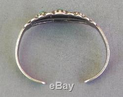 Vintage Fred Harvey Era Silver Stamped Green Turquoise Cuff Bracelet