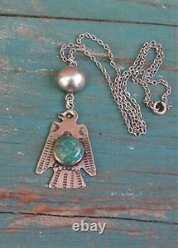 Vintage Fred Harvey Era Silver Turquoise Stamped Thunderbird Necklace