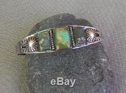 Vintage Fred Harvey Era Stamped Silver 3 Green Turquoise Cuff Bracelet