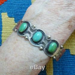 Vintage Fred Harvey Era Turquoise Cuff Bracelet Sterling Silver Stamp Decorated