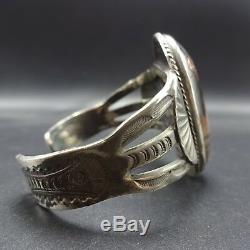 Vintage HARVEY ERA Hand-Stamped Sterling Silver PETRIFIED WOOD Cuff BRACELET 54g
