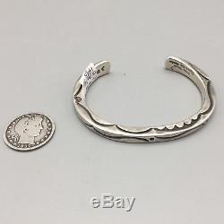 Vintage Hand-Stamped Sterling Silver Cuff Bracelet Navajo Orville Tsinnie