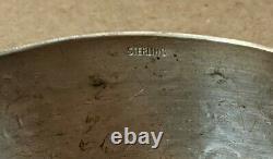 Vintage Large Native American Sterling Silver Sun Stamp Cuff Bracelet Navajo