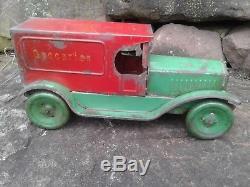 Vintage Lorain Steel Stamping 1928 Groceries Van Delivery Car Panal Van