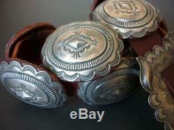Vintage NAVAJO ALBERT PLATERO Sterling Silver CONCHO BELT Stamped