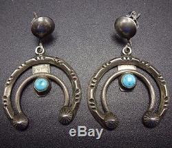 Vintage NAVAJO Chisel Stamped Sterling Silver & TURQUOISE Naja EARRINGS