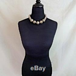 Vintage NAVAJO Chunky Sterling Silver NAVAJO PEARLS Hand Stamped NECKLACE 137.8g