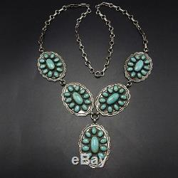 Vintage NAVAJO Hand-Stamped Sterling Silver Concho & TURQUOISE Cluster NECKLACE