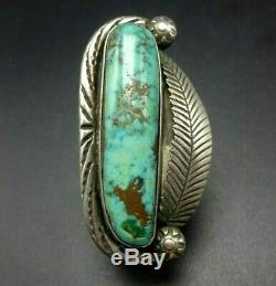 Vintage NAVAJO Hand-Stamped Sterling Silver EASTER BLUE TURQUOISE RING size 7.5