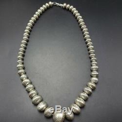 Vintage NAVAJO Hand Stamped Sterling Silver NAVAJO PEARLS NECKLACE EARRINGS Set
