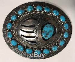 Vintage NAVAJO Hand-Stamped Sterling Silver & TURQUOISE Belt BUCKLE (32g)